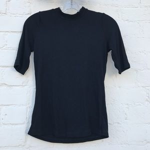 Topshop Mockneck Short Sleeve Fitted Top